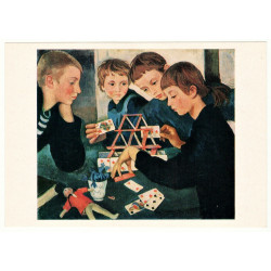 """House of cards"" by Serebryakova Child plays card Russian Vintage Postcard"