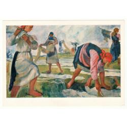 """Whitewash Canvas"" by Serebryakova Peasant Woman Russian Vintage Postcard"