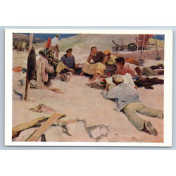 YOUNG BUILDERS Lunch Workers Socialist Realism Soviet Armenia USSR Postcard