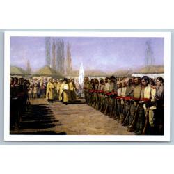BLESSING WHITE GUARD TROOPS Civil War Patriotic Propaganda Russian Postcard