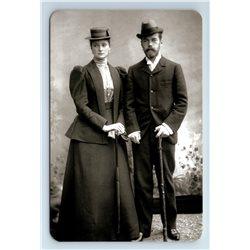 RUSSIAN Emperor Nicholas II with his bride Alice Hesse Romanov Royalty Postcard