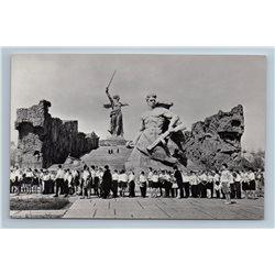 Volgograd WWII Motherland Calls Monument Stalingrad Heroes RPPC USSR Postcard
