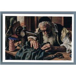 ELDERLY JEWS sewing Sew Machine Jewish Workshop Ethnic Russian Unposted Postcard