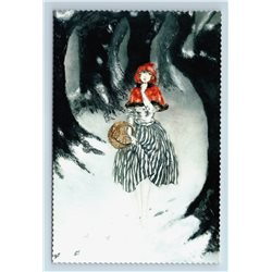 RED RIDING HOOD in Forest ART DECO by Louis Icart New Unposted Postcard