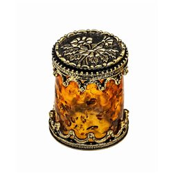 Thimble BIG BALTIC AMBER Glass Floral Solid Brass Metal Russian Souvenir Collection