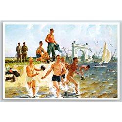 MENS on Vacaion Sea Beach by DEYNEKA Nude Socialist Fine Art Russian Postcard