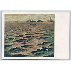 1955 BATTLE PATROL SHIPS in Sea on Anchor Seagull Soviet USSR Postcard