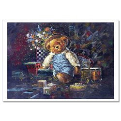 TEDDY BEAR TOY Christmas gifts by Sherwood Russian Modern Postcard