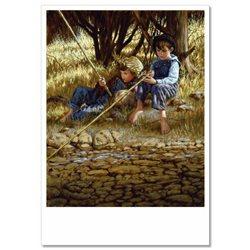Little BOYS fishing on River JIM DALY KIDS ART Modern Postcard