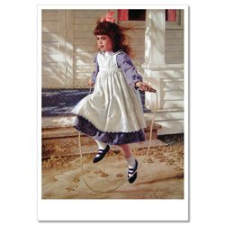 Cute LITTLE GIRL playing jump rope JIM DALY KIDS ART Modern Postcard