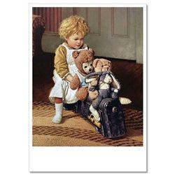 LITTLE GIRL with her TEDDY Bear TOYS JIM DALY KIDS ART Modern Postcard