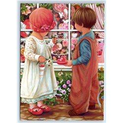 LITTLE GIRL & BOY Valentine's Treasure Sweet Shop New Unposted Postcard