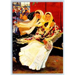 YOUNG GIRLS in Russian Ethnic Shawl OLD Fashion New Unposted Postcard