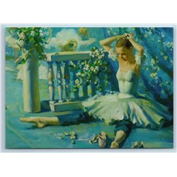 BALLERINA in turquoise decorations Ballet by Vostrezova New Unposted Postcard