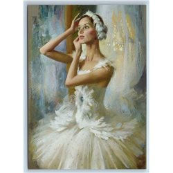 BALLERINA Odette in front of the mirror Ballet New Unposted Postcard
