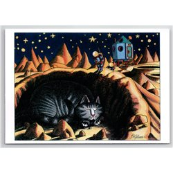 FUNNY CAT hiding from the astronaut SPACE Cosmos New Unposted Postcard