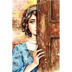 Pretty Girl Behind the door The Secret Russian Modern Postcard
