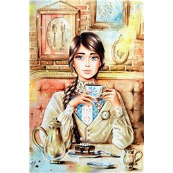 Pretty Girl CUP of Tea Party Time Kitchen Russian Modern Postcard