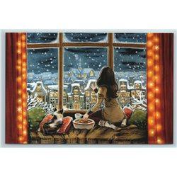 GIRL & CAT near Window Tea Party Snow Tale Russian Modern Postcard