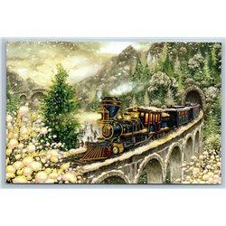 NEW YEAR'S EXPRESS TRAIN Railway Railroad Christmas Modern postcard