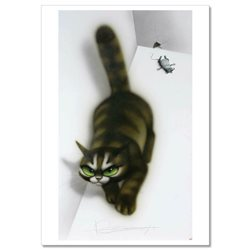 Vengeful CAT and Fallen Mouse Mice Funny Comic Russian Unposted Postcard