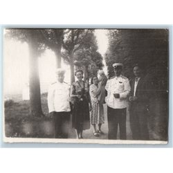 1950s SOVIET OFFICER & Woman in Park Family Military Russian Soviet photo