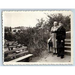 1950s LITTLE BOY & WOMAN in Park Fashion Russian Soviet photo