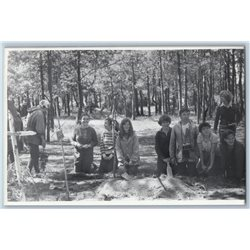1983 YOUNG PEOPLE in Forest Camp Amateur Tourist Belorussia Photo