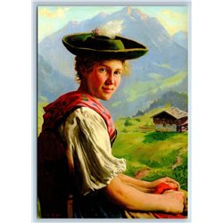 PRETTY YOUNG WOMAN German Peasant Folk by Rau New Unposted Postcard