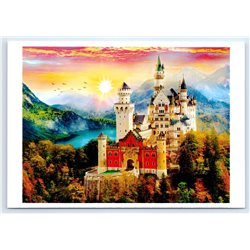 CASTLE in Mountain Lake Sunset Forest Great ill. New Unposted Postcard