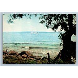 Karelia Russia Onega Lake Tree Ship Coast Endless View Sea Old Vintage Postcard