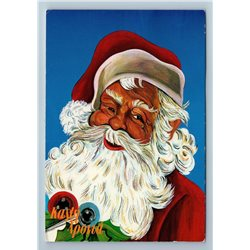 1970s SANTA CLAUS Merry Christmas Greek? Vintage Postcard