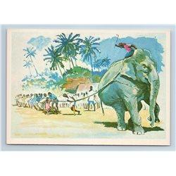 "SPORT ""Tug-of-war of elephant"" Thailand 1981 Russian VTG postcard"