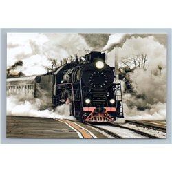 OLD PUFFER Train Railroad Railway on Depot Real Photo Russian New Postcard
