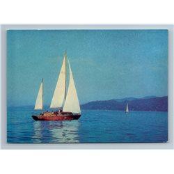 1975 SAILBOARD Sailing Ship SEA Georgia Batumi Landscape Soviet USSR Postcard