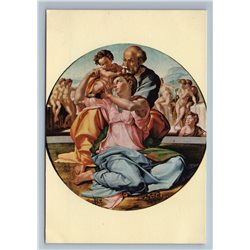 HOLY FAMILY Madonna Jesus Michelangelo Italian Art Vintage Postcard