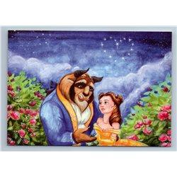 BEAUTY and BEAST under Starry Sky Garden Romantic by Malyauka New Postcard