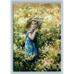 LITTLE GIRL picking wild flowers Field KIDS ART by Morozova New Russian Postcard