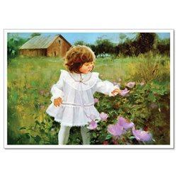 PRETTY LITTLE GIRL in Garden KIDS ART by Donald Zolan New Russian Postcard