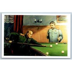 STALIN and Zhukov playing billiards Game Soviet Propaganda Russian Postcard