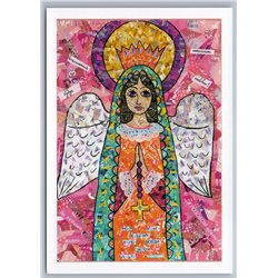 HOLY MOTHER OF GOD Angel Pray for you Unusal ART Collage Russian NEW Postcard