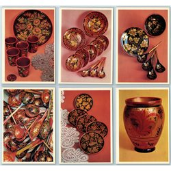 KHOKHLOMA Russian Wood painting handicraft Ornament Tableware SET 13 Postcards