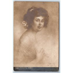 1910's GLAMOUR LADY Victorian in White Dress Moda Antique RPPC Old Postcard