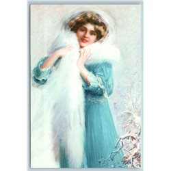 PRETTY WOMAN LADY in Blue dress Snow Old Fashion by DELPHIN ENJOLRAS NEW postcard