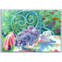 FLOWERS in Garden Shabby Lilac Angel Sculpture Summer Time New Unposted Postcard