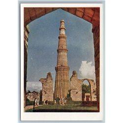 1958 INDIA Minaret Qutb Minar in DELHI Real Photo Soviet USSR Postcard