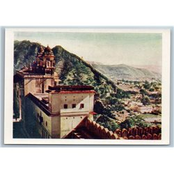 1958 INDIA View from the Castle of Amber Real Photo Soviet USSR Postcard