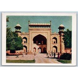 1958 INDIA Mausoleum of Emperor Akbar-Sikandr Real Photo Soviet USSR Postcard