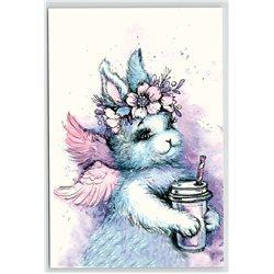 BUNNY RABBIT HARE w/ Wings Fluffy Milkshake Angel Fantasy New Unposted Postcard