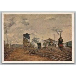1958 RAILROAD RAILWAY in USSR Train is Coming Red Star Soviet USSR Postcard